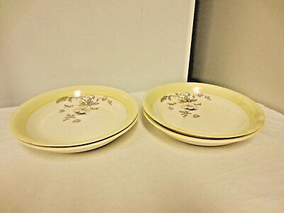 """Lot 4 K T & K (Knowles,Taylor,Knowles) China 7 1/2"""" Bowls;S--V Ivory WildFlower"""