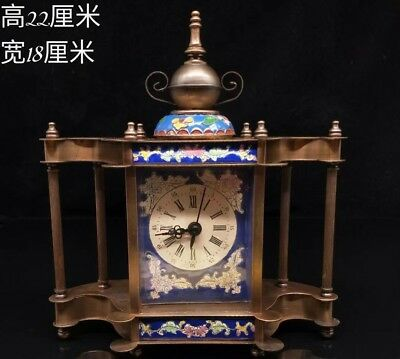 Old Chinese Handmade cloisonne clock Watch Home office decoration