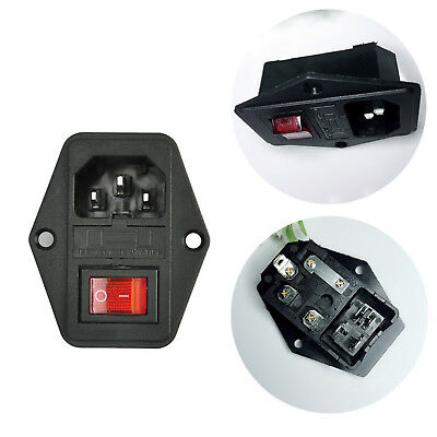 1X 10A 250V 3 Pin IEC320 C14 AC Inlet Male Plug Power Socket With Fuse Switch