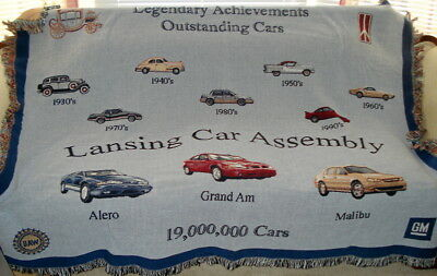 1990's Lansing MI Car Assembly Blanket Throw 19,000,000 Cars, Chevy Olds Pontiac