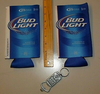 NEW 2) Bud Light 24oz Can Beer Koozie coolie & (1) Can / Bottle opener Keychain