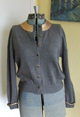Vintage Miss Joebel 1950S Gray Cashmere Sweater With Gold Egyptian Style Collar