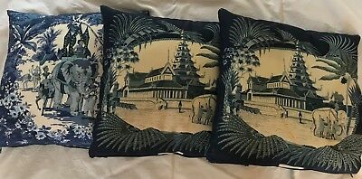 Set of 3 Jim Thompson Vintage Chinoiserie Silk Pillow covers