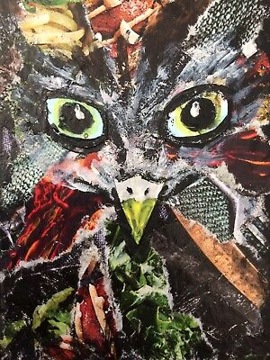 ACEO Tiny Original Simple Artwork Mixed Media Collage Bird Of Prey