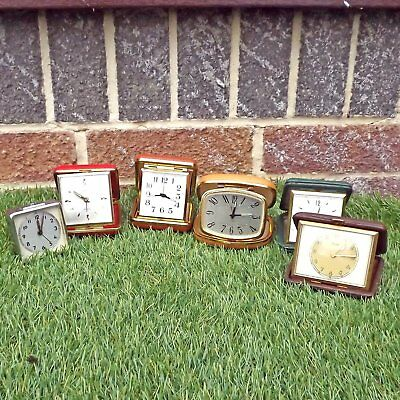 Collection Six Travel Clocks - 2 Working - 4 Spares Or Repair - Vintage Job Lot