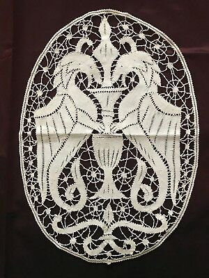 "Remarkable Antique French Handmade bobbin LACE DOILY -CHIMAERA 15 1/4"" by11 1/2"""