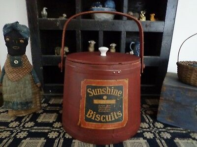 Primitive Antique Vtg Firkin Sugar bucket in chippy red paint old style Label