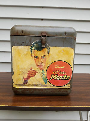 Moxie Soda Man Vintage Advertising Unique Metal Box Cooler