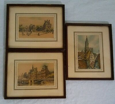 Frank Will Hand Colored Lithographs w Appraisal, Vintage 1930's Parisian Scenes