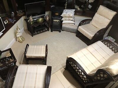 6-piece cane/wicker conservatory furniture set