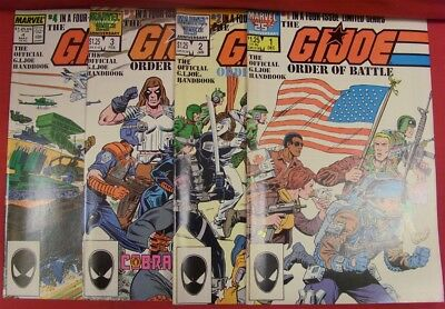 G.i. Joe Order Of Battle 1-4 Marvel Comic Set Complete Handbook Hama 1986 Vf/nm