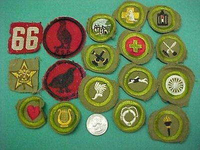 Mixed Lot of 17 Vintage Boy Scouts of America BSA Merit Badges Patches