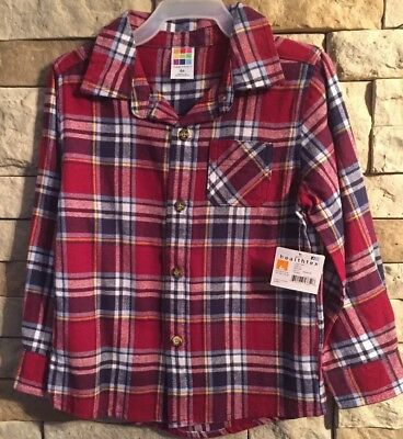 Healthtex Toddler Boys Plaid Flannel Shirt - Size 4T - Button Up - NWT