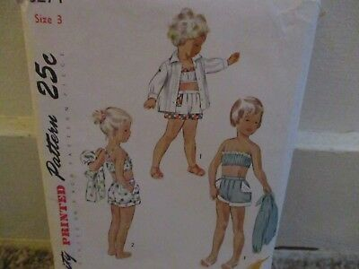 Vintage 1950's sewing pattern Girls Two-Piece Sunsuit & Jacket Size 3,# 3274
