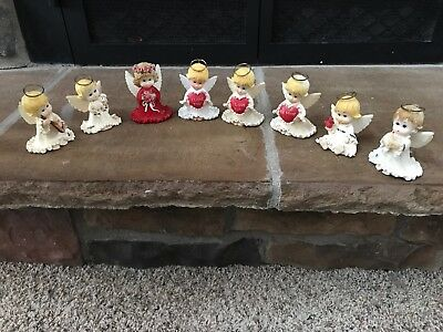 Set Of 8 Holly Babes Morehead Angels Valentine's Day Figurines