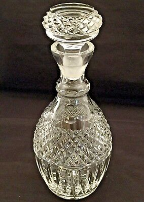 Vintage~Heavy Cut Crystal Spirits Decanter~Pyramid & Oval Cuts