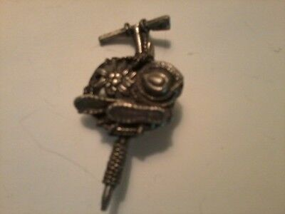 Vintage Western Pewter Hat Pin with Pick, Rope, Hat, Boots & Flower