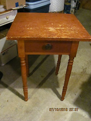 Antique c.1840's Sheraton 1 Drawer Stand in Old Red Paint