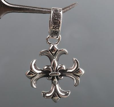 925 Silver Precious Metal Hand-Carved Ship Anchor Statue Necklace Pendant Gift