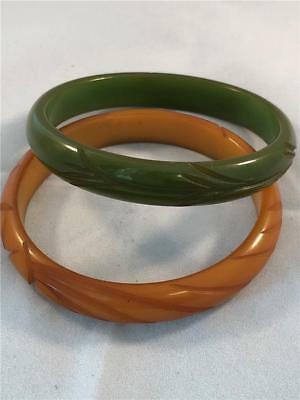 "Antique Vintage Pair carved Bakelite Bangle Bracelets Green Amber 7 3/4"" Retro"