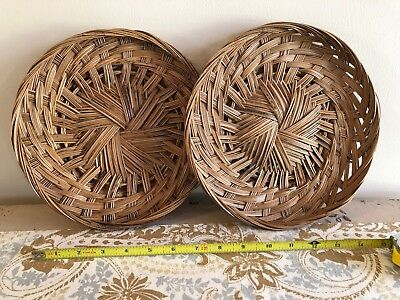 Lot of 2 Boho Rattan Woven Wicker Wall Baskets Hangings Vintage Wall Decor