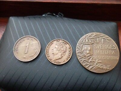 SVERIGES Medal + Medallion 1928 (other side is plane ) + coin from RHODESIA 1977