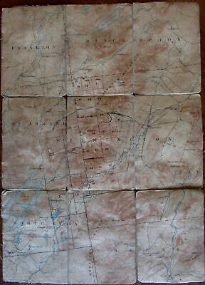 Lake Placid New York state w/ annotations c.1910-40 topo linen backed pocket map