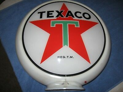 Vintage Texaco White T 2 Sided Gas Pump Globe With Capco Body All Original