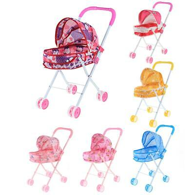 Baby Young Kids Pretend Play Foldable Pushchair Buggy Pram Trolley Toy Gifts