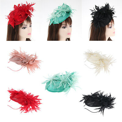 Women's Sinamay Feather Hat Fascinator Aliceband Clip Wedding Hair Accessory