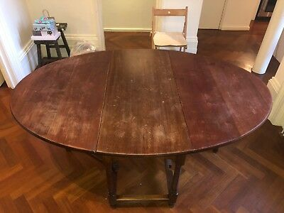 Huge Antique Mahogany Wood Gateleg Dining Table Seats 8 / 10