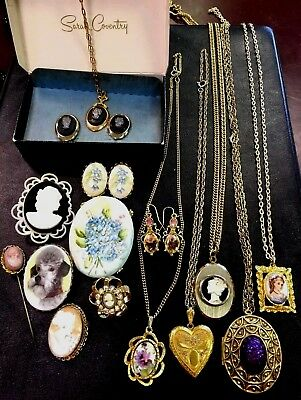 Vintage Jewelry Lot Cameo Locket Pin Brooch Earring Flower Sarah Coventry Set