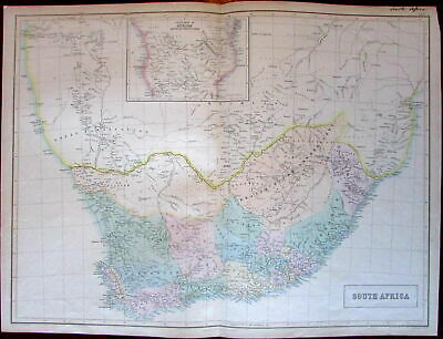 South Africa Orange River Sovereignty c.1850 large Bartholomew Black antique map