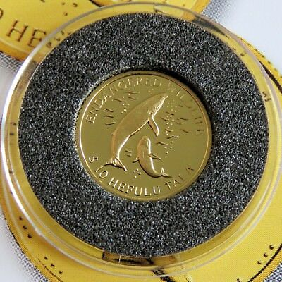 TOKELAU 2003 THE WHALE ENDANGERED WILDLIFE .999 GOLD PROOF 10 HEFULU TALA - coa