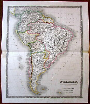 South America Bolivia or Upper Peru c.1829 Hall hand color old map
