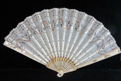 Antique French Lady Hand Fan w/ Box C. 1898 Bone Handles Silver & Gold Sequins
