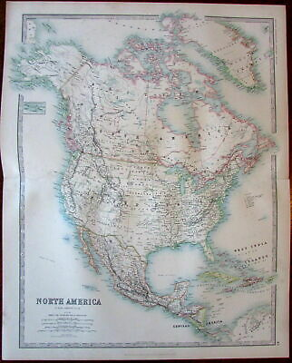 North America c.1893 Johnston large color lithographed antique map