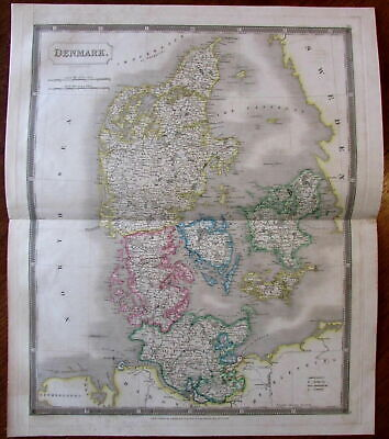 Denmark c.1828 Sidney Hall Holstein Jutland engraved hand color old map