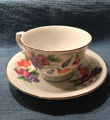 Avon Blossoms of the Month Cup & Saucer 1991 April Sweet Pea Collections NEW