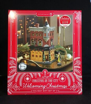 "Department 56 ""Welcoming Christmas"" #6002290 Holiday Gift Set Of 2"