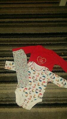 Baby girls long sleeved vests Upto 1 Month 0-1m
