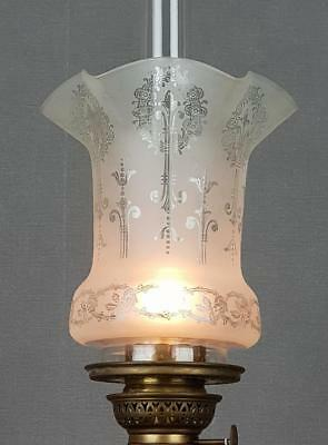 Victorian Etched Glass Kerosene Paraffin Oil Upright Gas Lamp Shade Peg Piano