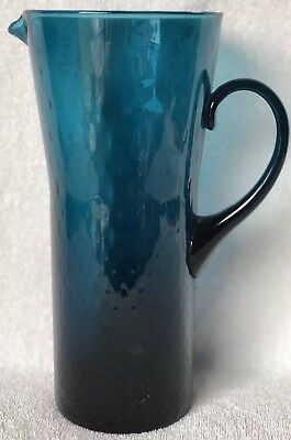 "Vintage / Antique Large Hand Blown Glass Ice Tea Pitcher Teal Blue 9.75"" Tall"