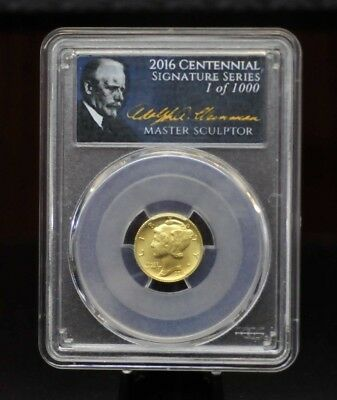 2016-W PCGS SP70 First Strike 1/10oz Gold Centennial Mercury Dime [01DUD]