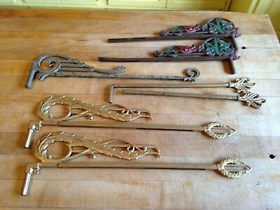 Mixed Lot of 7 Antique Cast Iron Swing Arm Extending Curtain Rods
