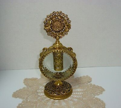 Antique Vintage  Gold Gilt Perfume Bottle w/Stopper Dauber