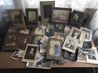 Mixed LOT of Antique Photographs, Cabinet Photos, and Pictures 19th C.