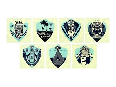 Shepard Fairey Earth Crisis Set of 7 Limited Edition Screen Print Vinyl Stickers