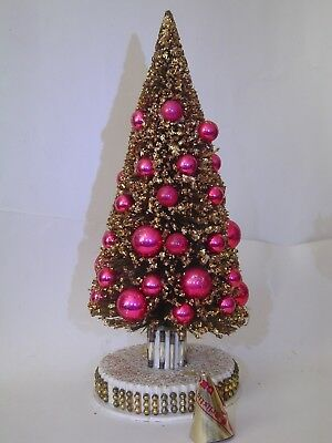 Large Vintage Bottle Brush Christmas Tree W/gold Glitter & Pink Bulbs  Japan