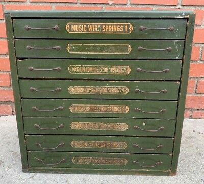 Rare Antique 8 Drawer Wooden Assorted Springs Hardware Cabinet